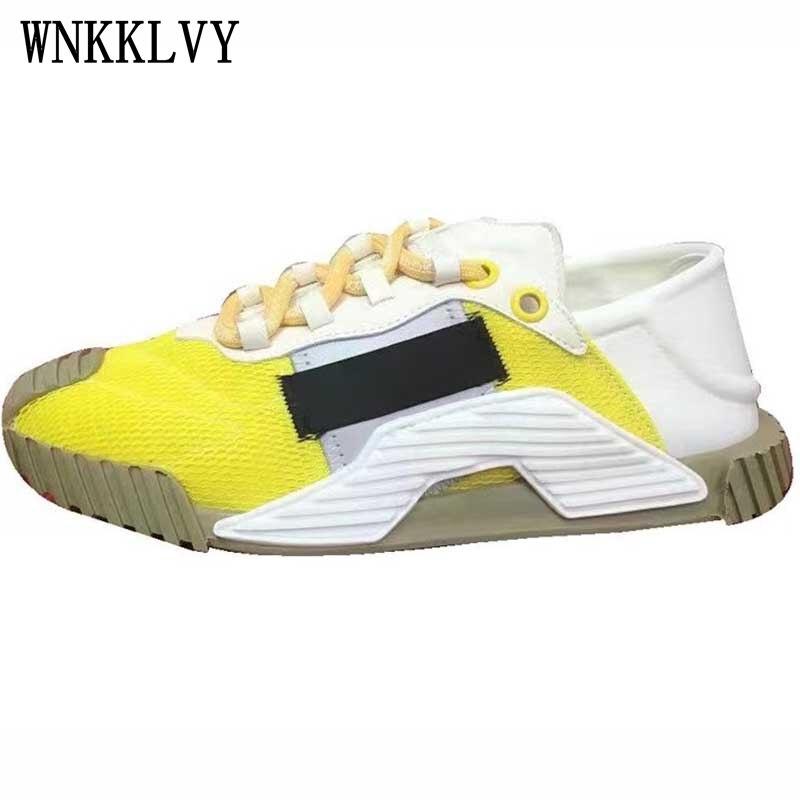 2021 حذاء كاجوال مسطح سميك وحيد المرأة تنفس شبكة الدانتيل يصل منصة أحذية رياضية ربيع الخريف مريحة المشي أحذية تنس