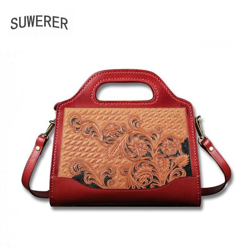 SUWERER-حقيبة جلدية أصلية للنساء ، منحوتة يدويًا ، حقيبة فاخرة ، مجموعة جديدة 2020