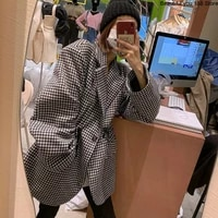 south korea gate net red thousand bird check woolen overcoat woman with waistline showing thin and cotton checked