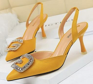 YEELOCA 2020 women's shoes high heel shallow tip velvet face hollow m002 after the trip metal water drill ZR356