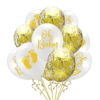 10pcs Pack 12 Baby Shower Ideas Baby Shower Decorations Confetti Balloon Decoration Gold Oh Baby