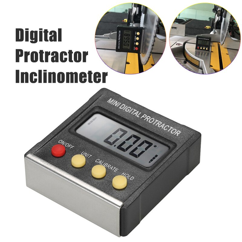 360 Degree LCD Display Mini Digital Protractor Inclinometer Electronic Level Box Magnetic Base Measuring Tools Without Battery