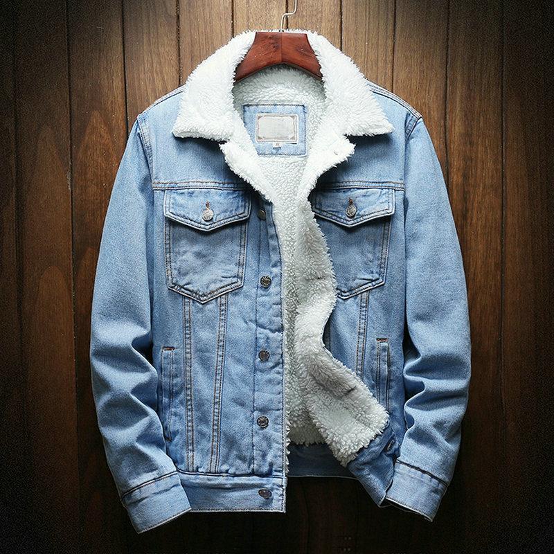 Dropshipping Streetwear Men Jacket And Coat Warm Fleece Denim Jacket 2021 Winter Fashion Mens Jean Jacket Outwear Male Plus Size