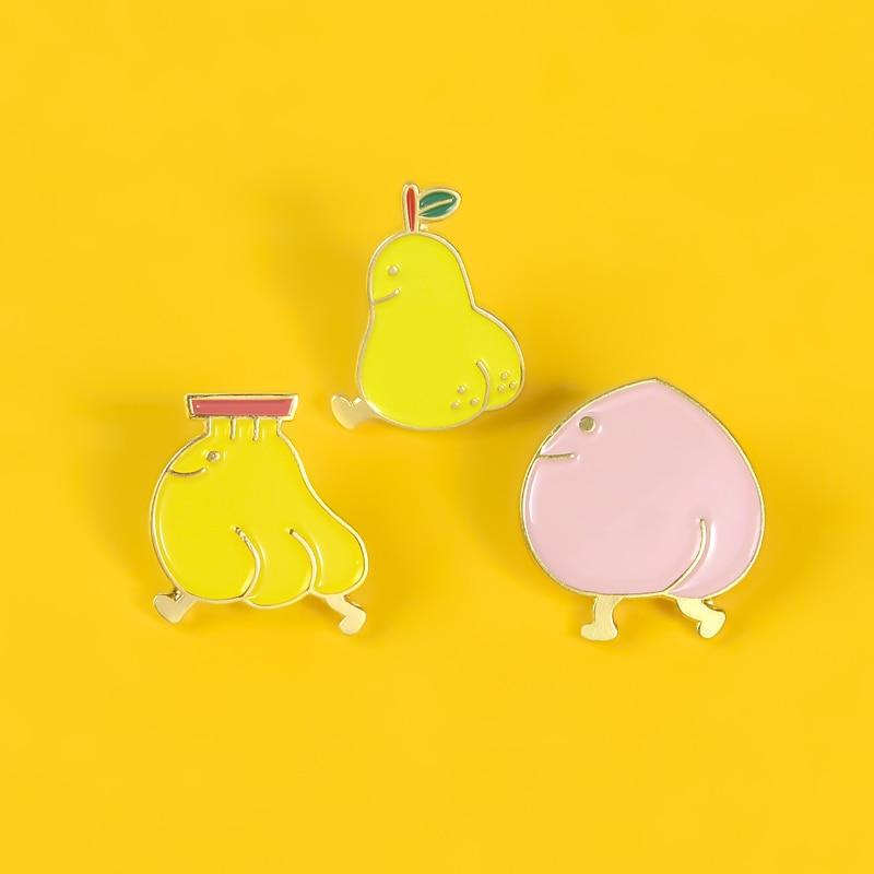 Divertido fruta esmalte Pin pera Banana melocotón broche dibujos animados bonito broche para solapa insignias de solapa ropa linda joyería regalos para niños