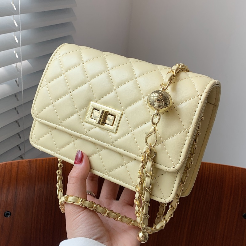 Quilted Chain Crossbody Bags for Women Diamond Lattice Shoulder Bag Luxury Pu Leather Handbags Ladys Summer Yellow Messenger Bag
