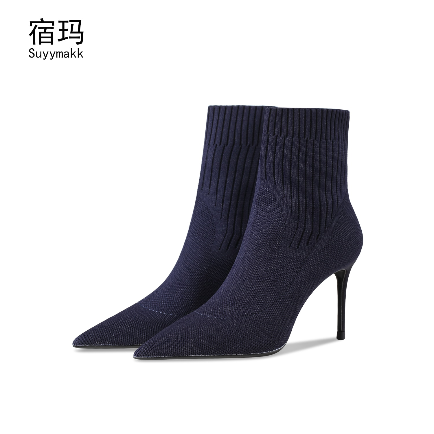 newest winter boots for women print flowers ankle boots pointed toe high heels boots 12 cm sexy stretch boots short dress shoes New Women High Heels Boots Pointed Toe Fabric Elastic Socks Boots Sexy Stilettos Shoes For Woman 2021 Fashion Short Boots 6/8cm
