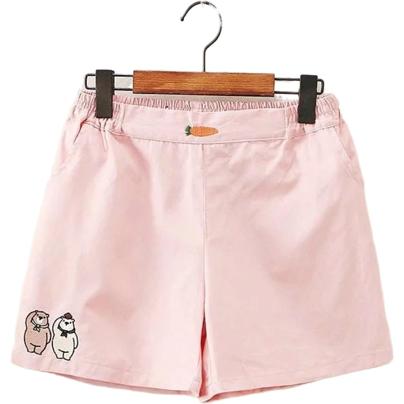 2021 New Spring Preppy Style Cute Carrot Bear Embroidery Elastic Waist Casual Shorts Women Sweet Ladies Bottoms 2011948