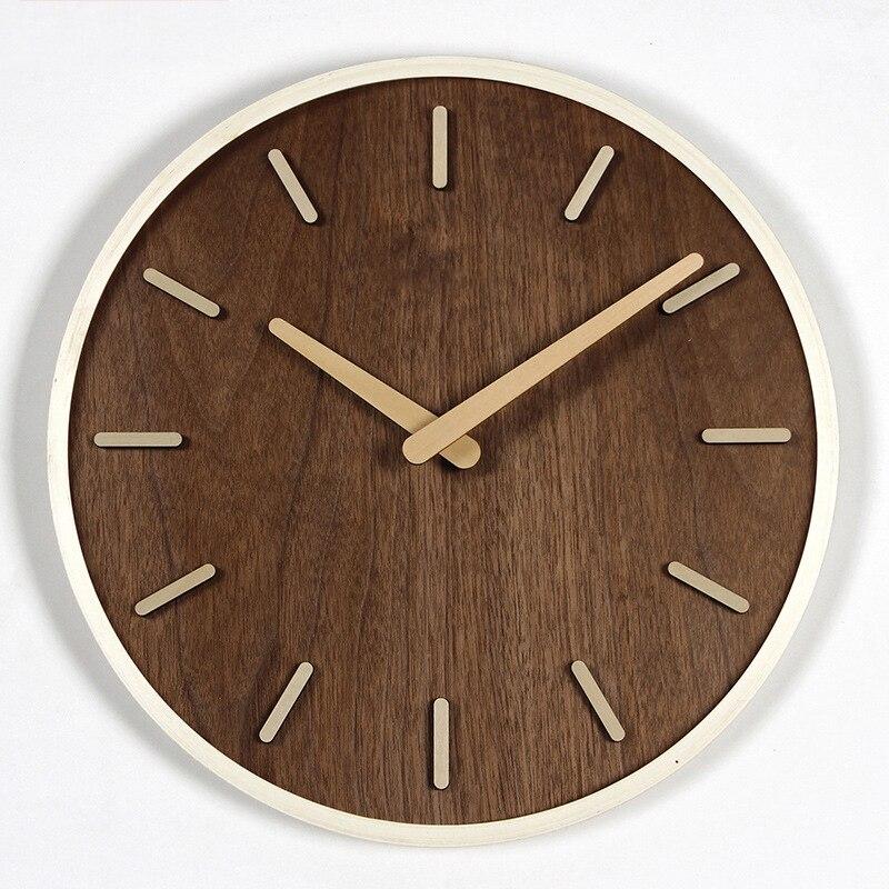Criativo 3D Design Moderno Relógio de Parede De Madeira Relógios Grandes para Sala de estar Grande Relógio de Parede Home Decor No Vidro Em Silêncio 14 polegada