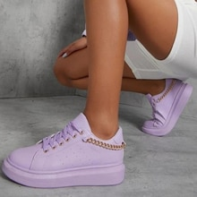 Women's New Sneakers 2021 Autumn Fashion Low Top Ladies Casual Shoes with Chain Female Round Toe Non