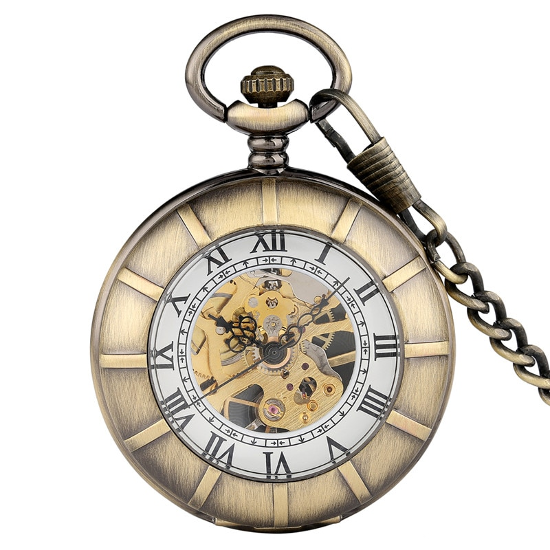Classical Hand Winding Mechanical Pocket Watch for Men Women Double Open Design Vintage Pendant Chain Clock  with Roman Number