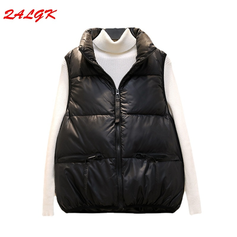 Women's Cotton-padded Vest Top 2021 Autumn and Winter New Short Student Korean Style Top Loose Outer Wear Pure Color Temperament