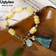 Uglyless Anti-allergique 14K rempli dor 9K or Bracelets pour femme naturel ambre Bracelet corde glands ethnique Fine bijoux BR342