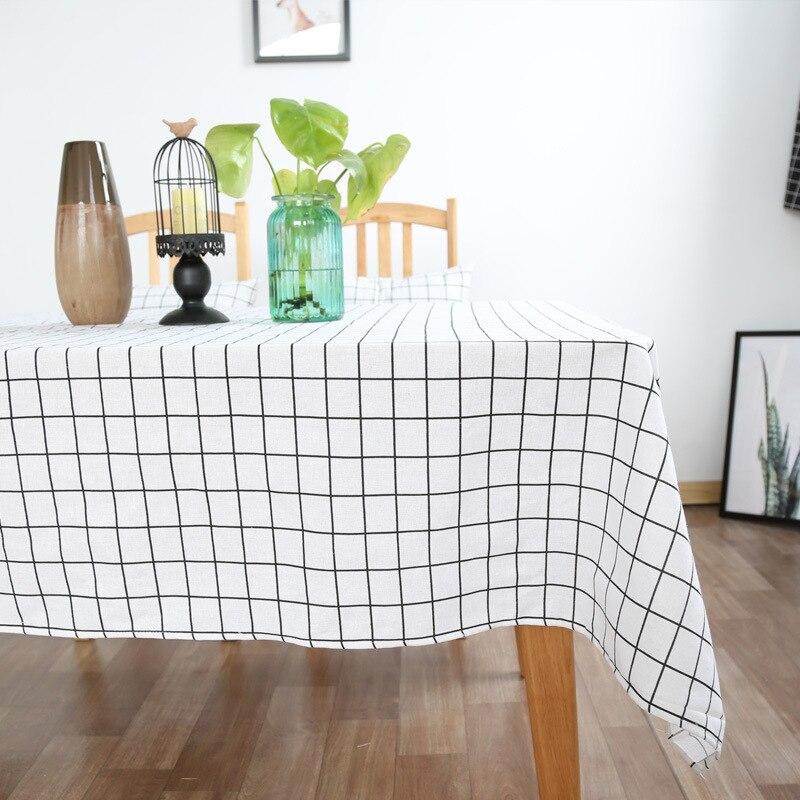 Mantel de algodón nórdico Simple negro y blanco a cuadros, mantel cha ji bu moderno, directo de fábrica japonesa