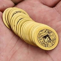 10pcs brass lucky ancient chinese fortune coins feng shui antique coin emperor money set hole car home hanging decor