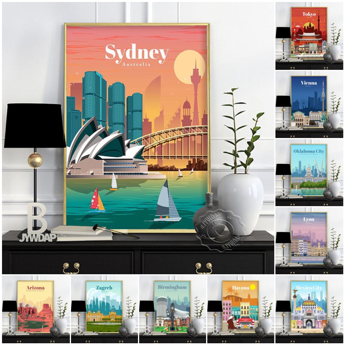 Постер на стену «Путешествие в городе», художественный постер с изображением Польши, Варшавы, акварельные художественные принты, венгерски...