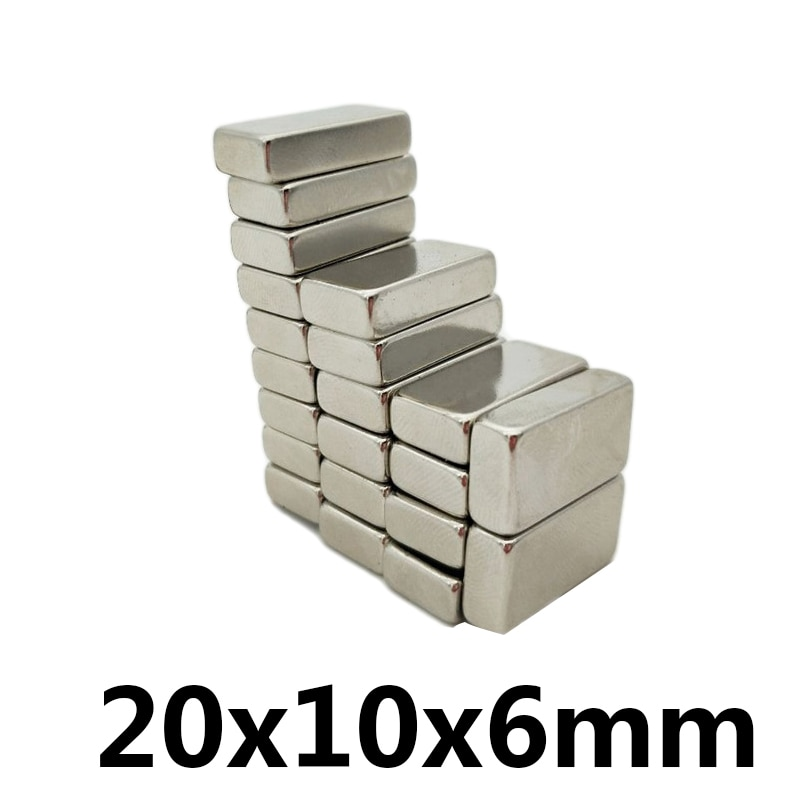 3 ~ 100 Pcs 20X10X6 Mm N35 Ndfeb Vierkante Super Sterke Neodymium Magneet Blok Permanente Magneten krachtige Magnetische Magneten 20*10*6 Mm