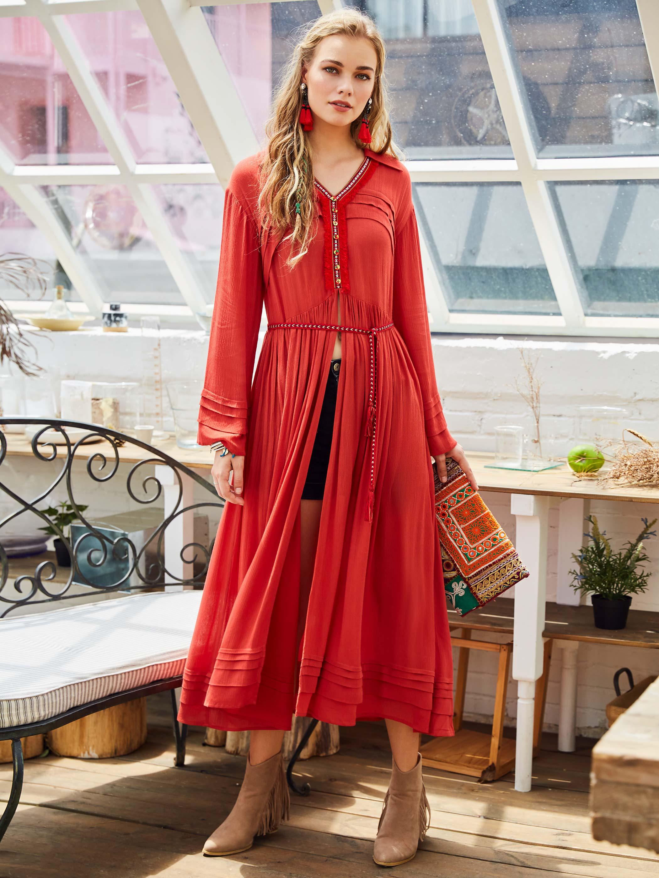 Vestido bohemio de retazos para mujer, vestido plisado bordado de primavera 2020, vestido informal OL de manga larga con botón de borla para mujer