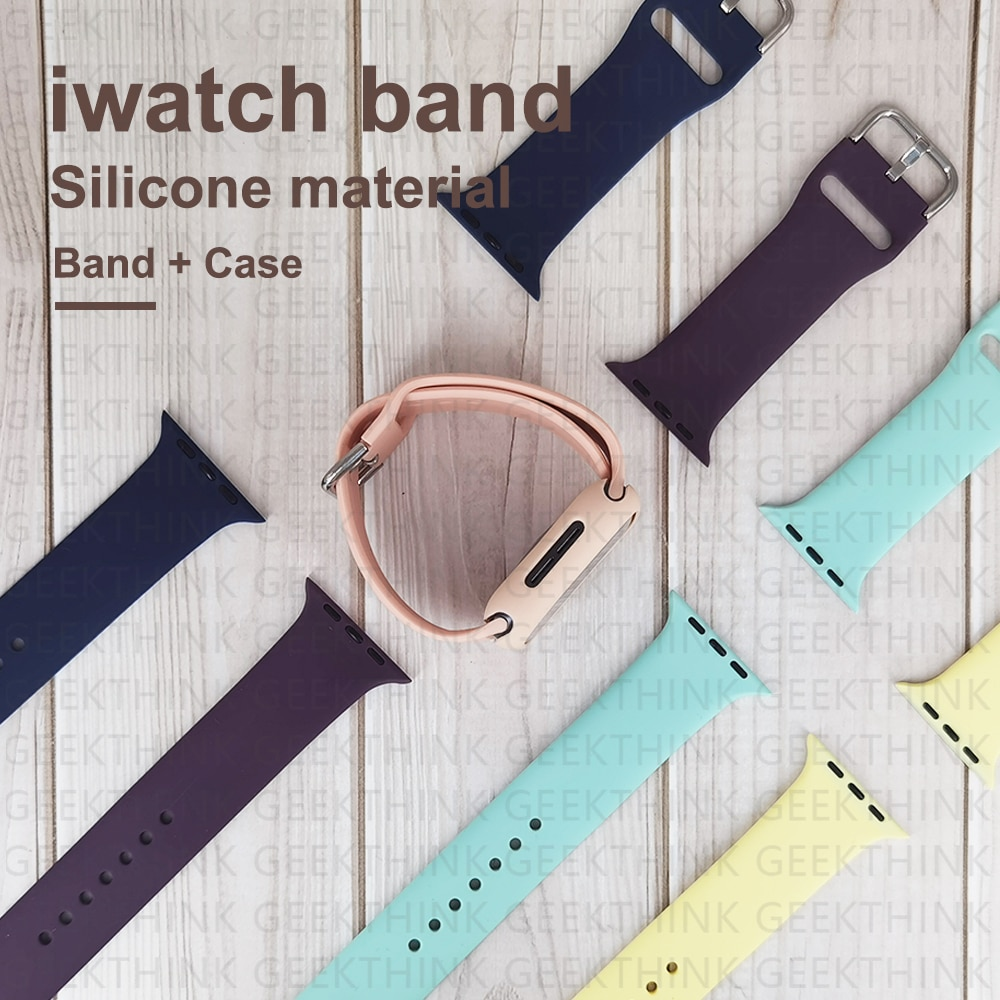 sports silicone for apple watch band 42mm 38mm 40mm 44mm smart watchbands wrist bracelet strap for i watch series 5 4 3 2 1 belt For Apple Watch SE Band smart watch Series 6 5 4 3 2 Pure color silicone strap+Case 40mm 44mm 38mm 42mm for iWatch band bracelet