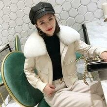 100% 양모 코트 여성 여우 모피 칼라 다운 재킷 2020 겨울 여성 정품 가죽 자켓 Chaqueta Mujer MY