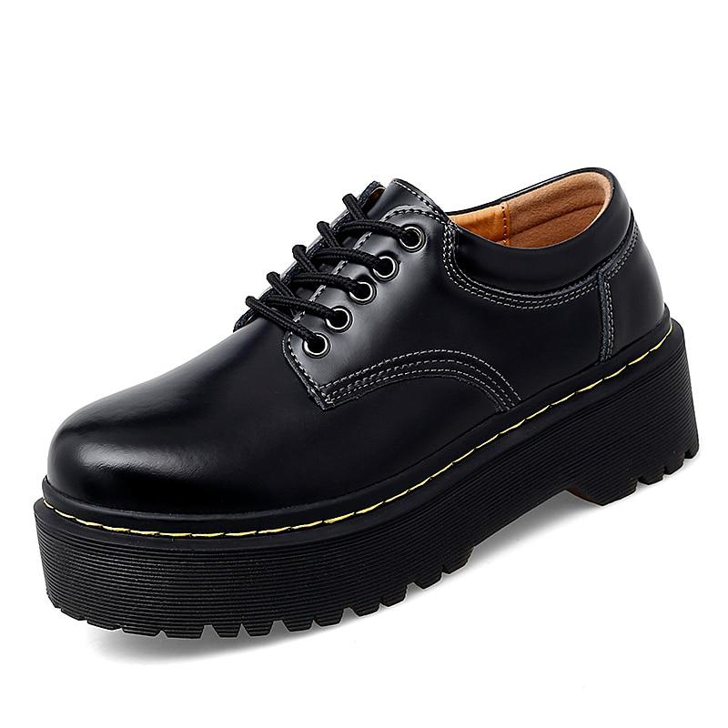 Fashion Women Shoes Square Heel Female Footwear PU Shoes Upper Waterproof Shoe Women Hseighten Shoes