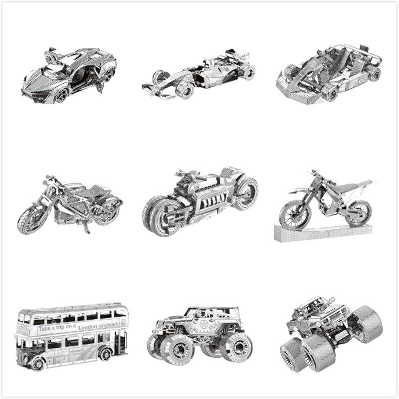 Transporte deportes carreras coche autobús 3D Metal vehículo rompecabezas todoterreno motocicleta modelo colección juguetes regalo rompecabezas juguetes adultos
