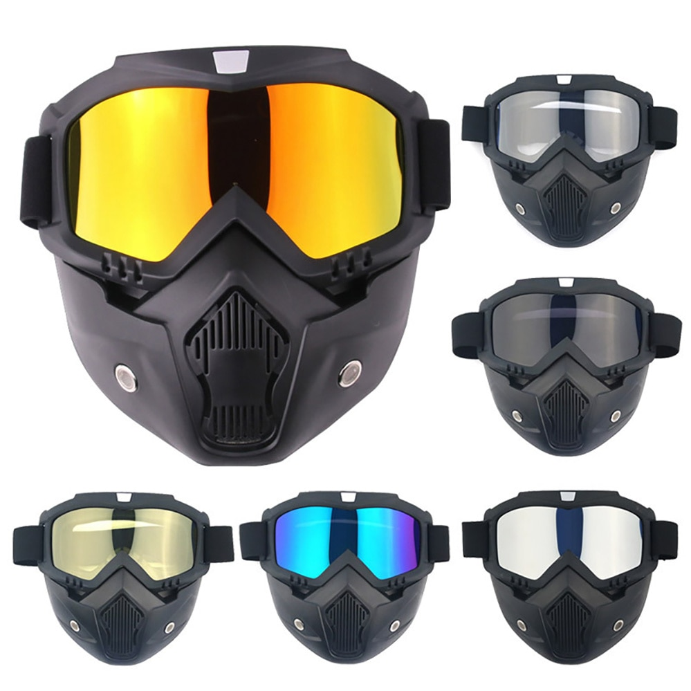 adult leather harley helmetsmask detachable goggles and mouth filter perfect vintage motorcycle helmet open face motorcycle New Classic Style Open Face Helmet Mask Motorcycle Helmet Detachable Glasses Goggles Windproof Dustproof Moto Cycling Goggles