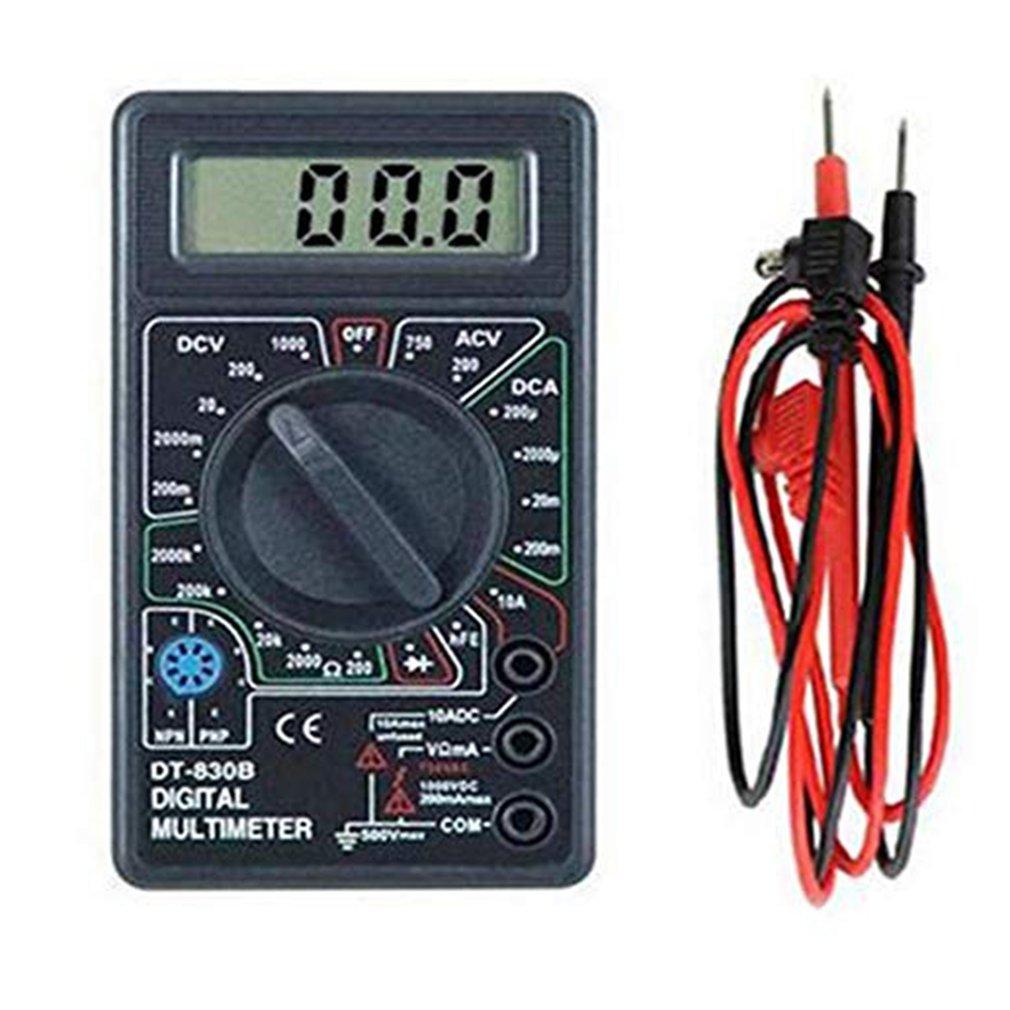 DT830B multímetro Digital compacto con pantalla LCD multifuncional, amperímetro eléctrico, probador de capacitancia y resistencia del voltímetro