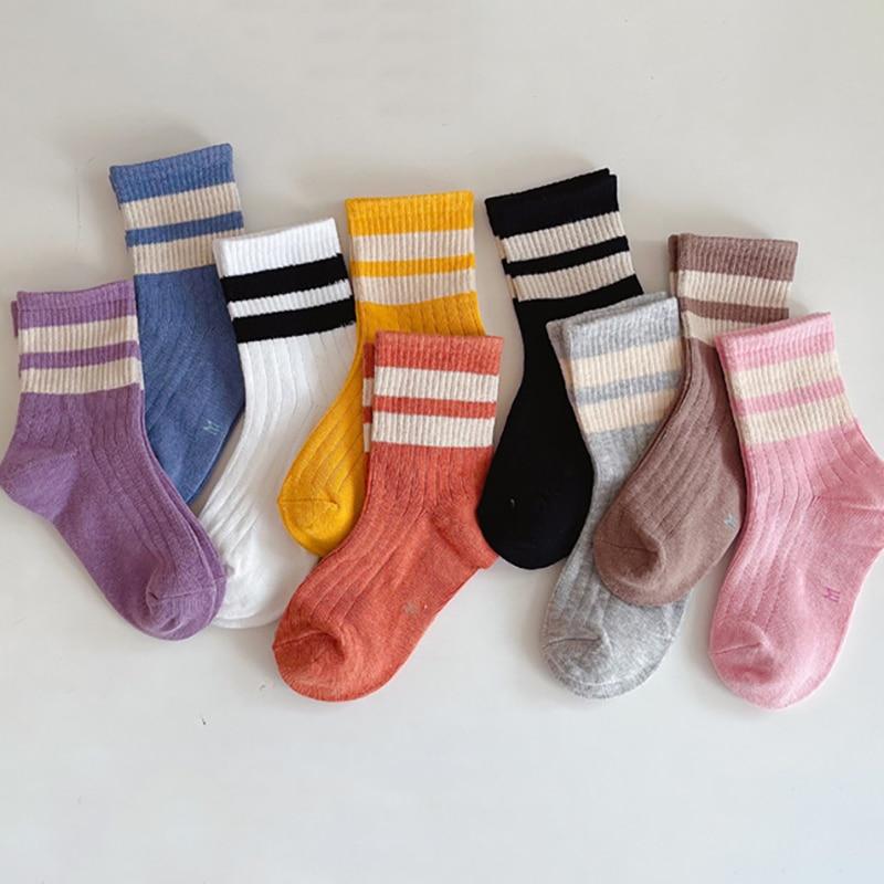 1-10 Years Kids Boys Cotton Sock Sports Toddlers Girls Ankle Socks Baby Soft Stripped Children Socks