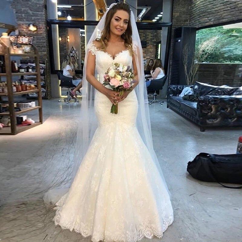 GY-فستان زفاف أنيق على شكل حورية البحر ، أكتاف عارية ، دانتيل ، فستان زفاف