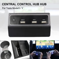 model3 model y 4 in 1 usb car console hub adapter pd qc3 0 dual usb port charger tesla accessories