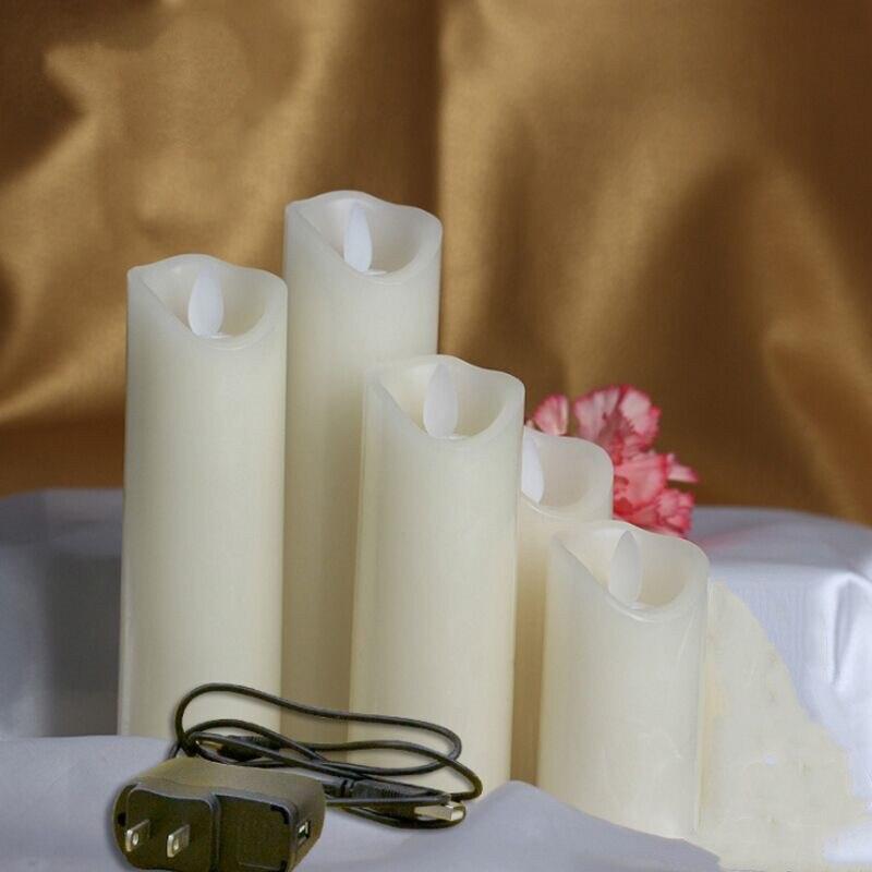 Juego de 5 velas led recargables, pilar de cera de parafina con borde ondulado, mecha móvil, decoración de bar para fiesta de Navidad, 10-12,5-15-18-20cm (H)