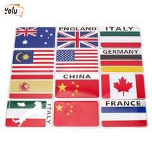 YOLU Car 3D Italy/Spain/German/France/Sweden/Russia/Belarus Flag Decorative National Emblem Badge Decals Sticker Car Styling