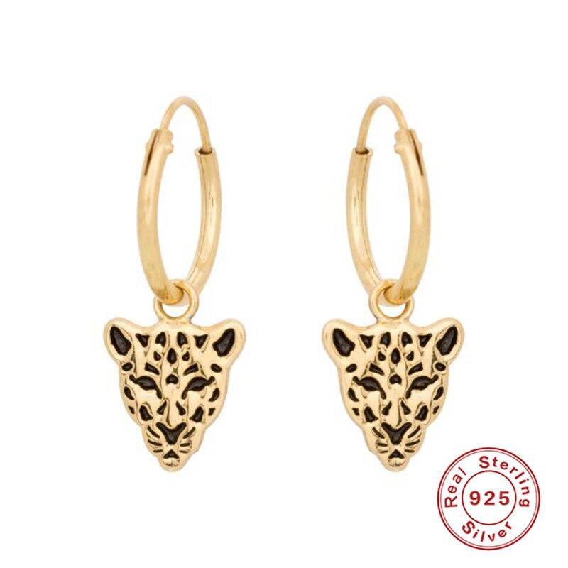 ROMAD Tier Leopard 925 Sterling Silber Hoop Ohrringe Für Frauen Pendientes Geburtstag Präsentieren brinco Paar Geschenk Edlen Schmuck