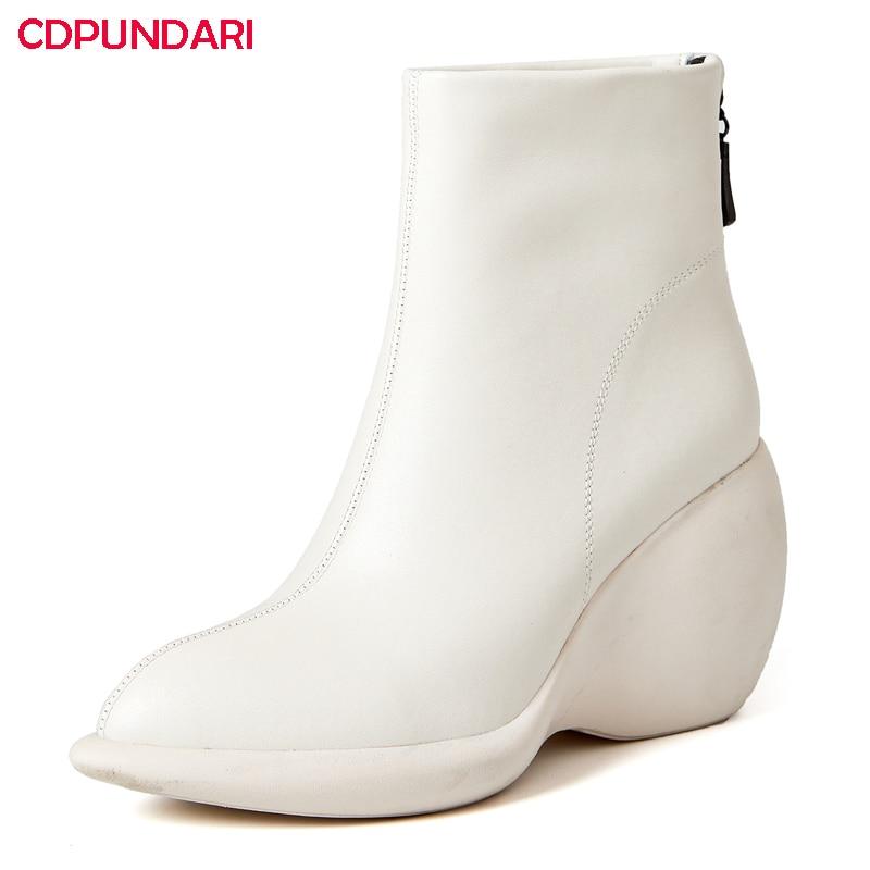 White Black Genuine Leather Wedges Platform Ankle Boots Women Autumn Winter Super High Heels Boots Shoes Bottes Plateforme Femme