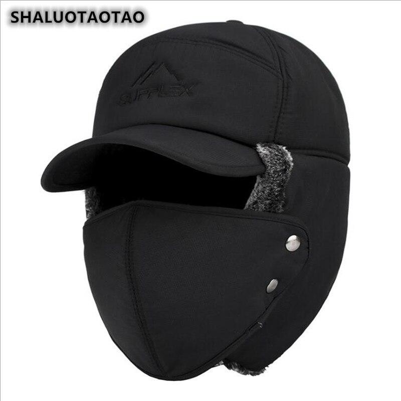 SHALUOTAOTAO Trend Winter Thermal Bomber Hats Men Women Fashion Ear Protection Face Windproof Ski Ca