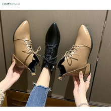Women Shoes 2021 Pumps Fashion Luxury Design Ladies High Heel Pointed Plus Size 40 Woman Lace-up PU