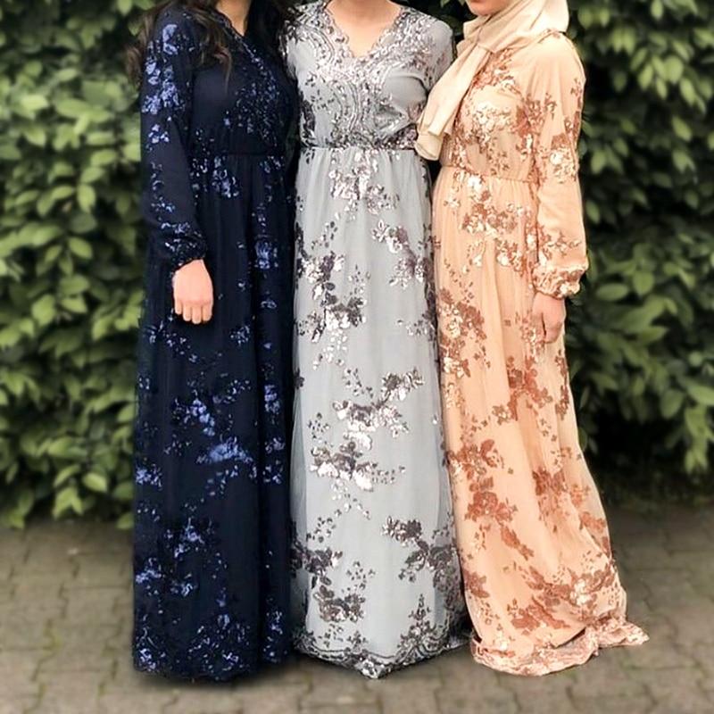 Sequin abaya Дубай турецкие платья мусульманское платье Абая для женщин хиджаб платье кафтан Турция Исламская одежда Кафтан Maroc Omani