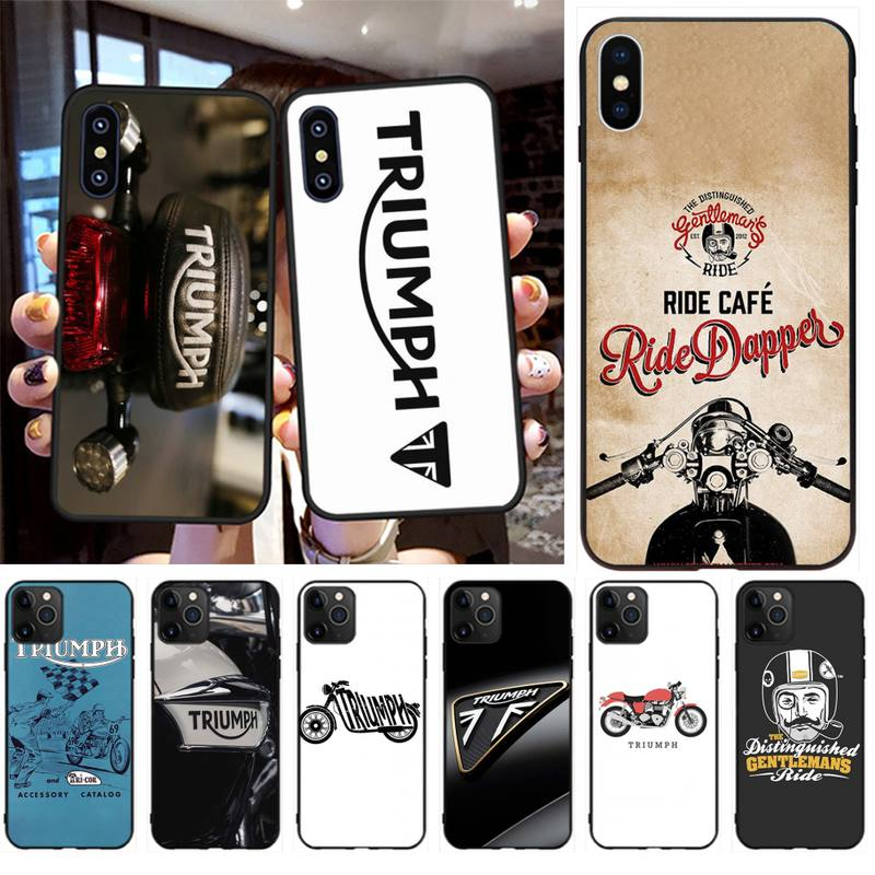 HPCHCJHM Triumph Motorcycle Soft black Phone Case for iPhone 11 pro XS MAX 8 7 6 6S Plus X 5S SE 2020 XR case