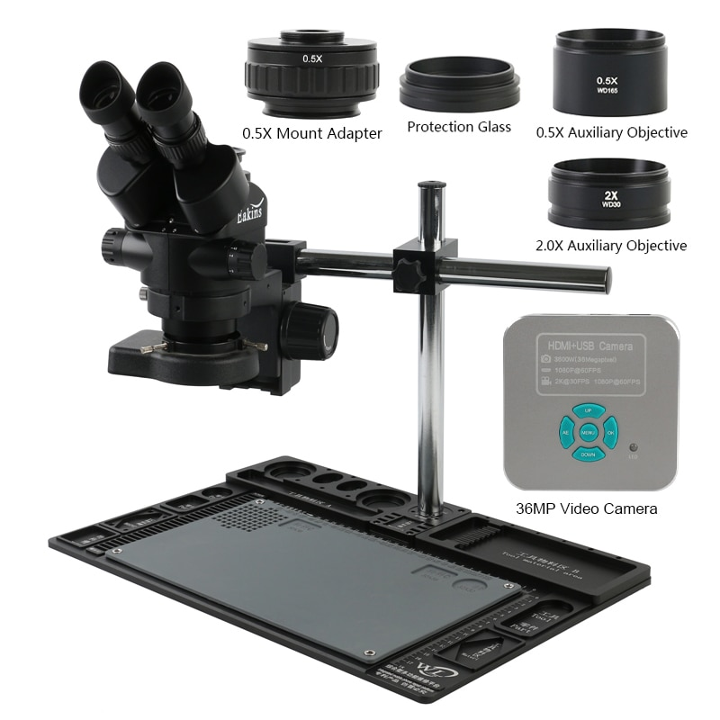 3.5X-90X التكبير المستمر سيمول البؤري ثلاثي العينيات مجهر ستيريو 36MP 4K 1080P HDMI USB كاميرا فيديو 0.5X CTV محول منضدة