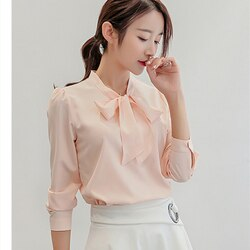 Blusas femininas blusas femininas blusa de escritório manga comprida arco sólido branco/rosa vintage manga larga chiffon