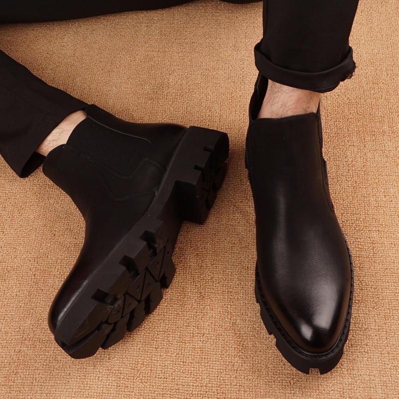 Botas dos Homens Sapatos de Couro Inglaterra Designer Preto Genuíno Bonito Chelsea Boot Festa Banquete Vestido Tendência Plataforma Botas Masculinas
