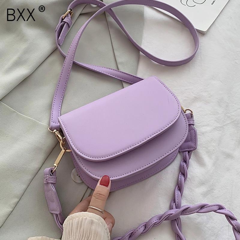 [BXX] PU Leather Crossbody Saddle Bags For Women 2021 Summer Solid Color Shoulder Handbags Female Travel Cross Body Bag HN128