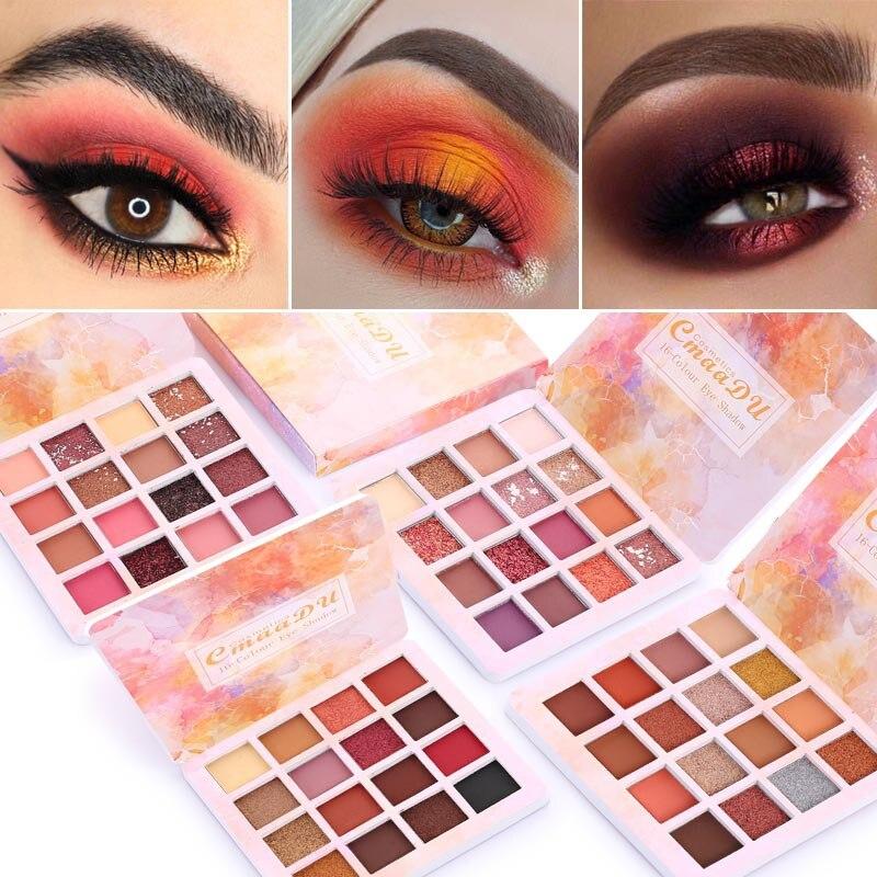 Paleta de sombra de ojos de 16 colores brillo mate maquillaje resistente al agua pigmento brillante paleta de sombra de ojos ahumado maquillaje de ojos cosméticos TSLM1