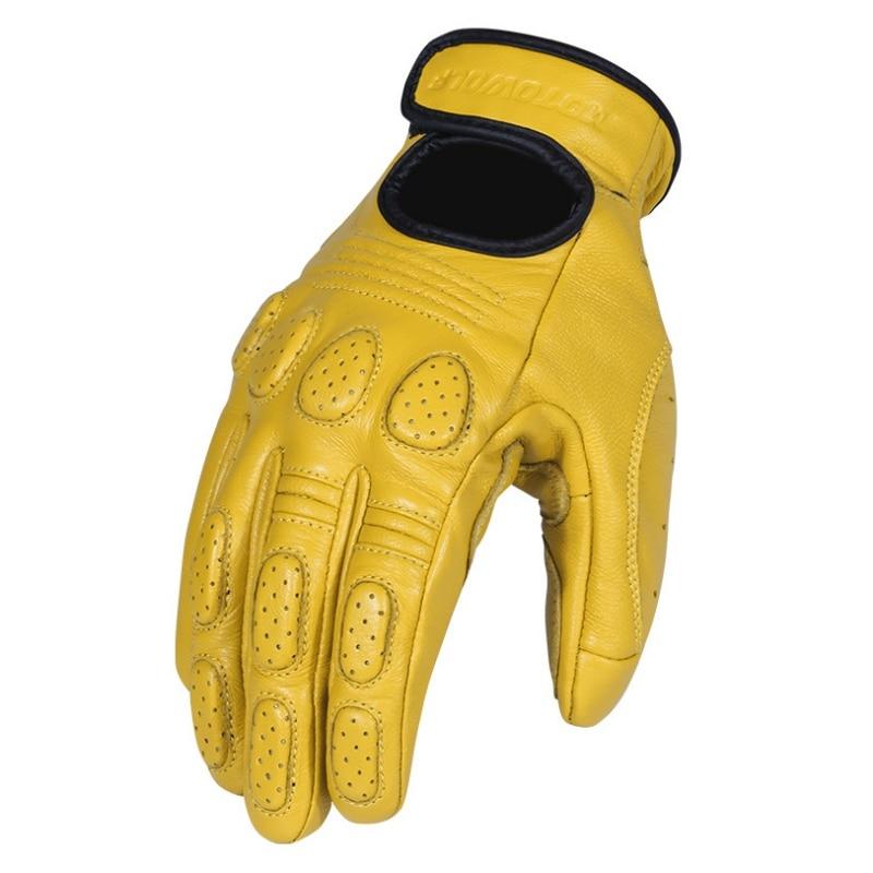 Guantes de piel auténtica para motocicleta para hombre, guantes de moto con protector de pantalla táctil de cabra para montar, escalar, senderismo