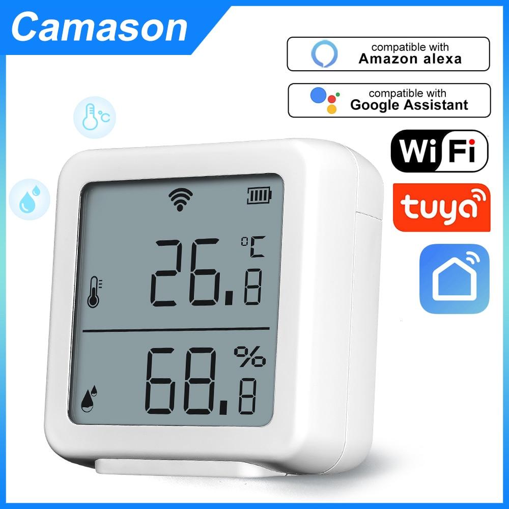 Camason Tuya WIFI Temperature and Humidity Sensor Indoor Hygrometer Thermometer Detector Support Alexa Google Home smart life