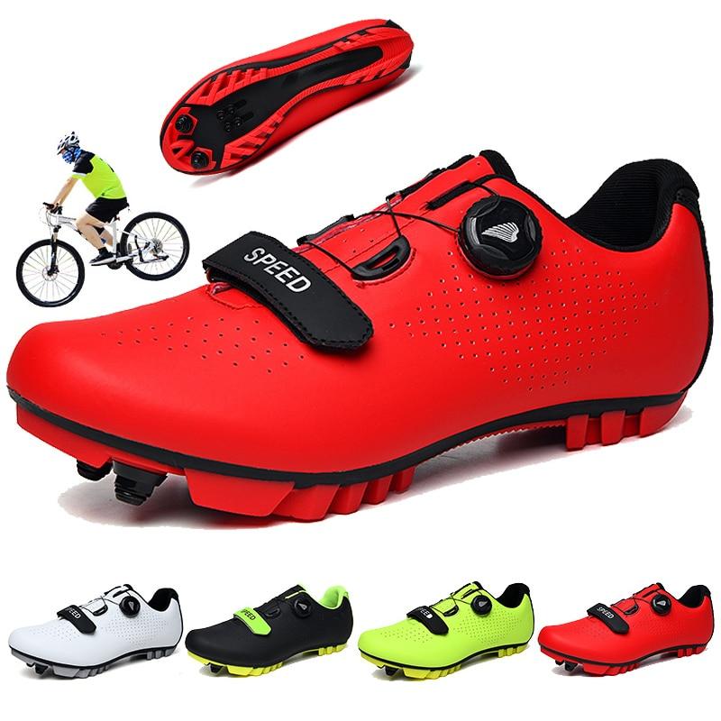 Zapatos de ciclismo de carretera de carbono para hombre, calzado de montaña para exteriores para bicicleta, zapatillas con cierre automático, zapatillas de ciclismo mtb para mujer