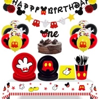 mickey mouse theme party banner party 8 people disposable plate napkin cup cake toppers for kids favor flag decoration gifts