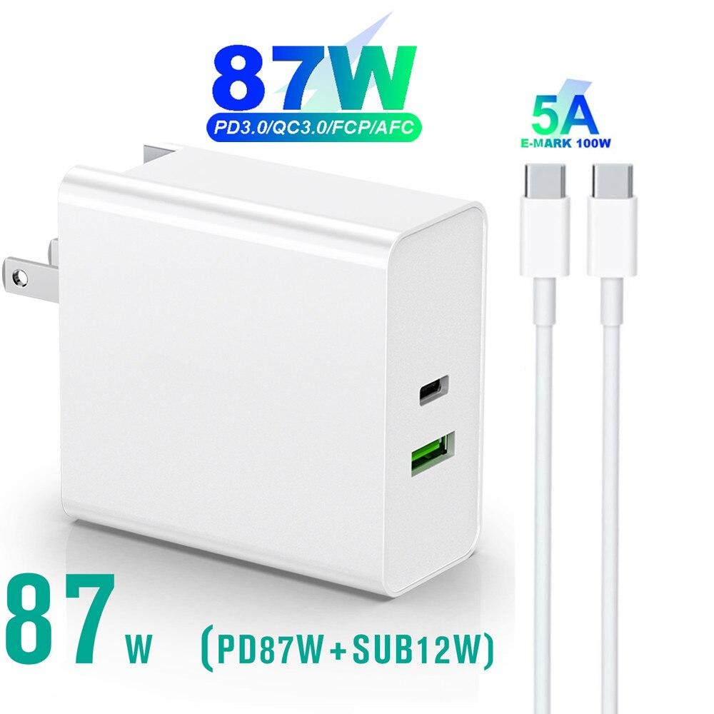 87 واط 65 واط 45 واط 36 واط USB نوع C PD شاحن USB C الطاقة محمول محول لباد برو/باد Airi 4/ماك بوك برو/هواوي MatePad برو