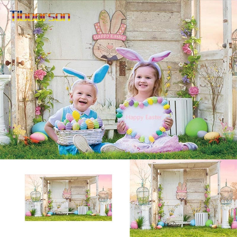 Happy Easter Theme Pink Sky Backdrop Supplies for Photography Girls 1st Birthday Colorful Eggs Decorations Studio Newborn Kids
