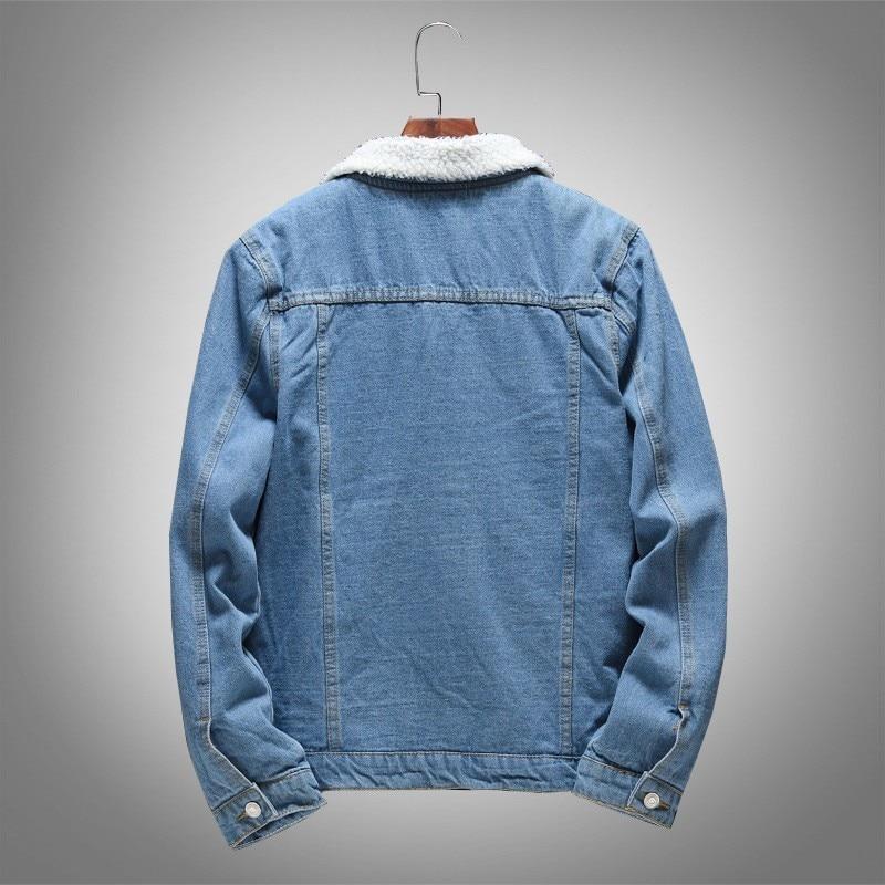 Winter Mens Fleece Lining Denim Jacket Slim Fit Korean Outerwear Coat Pockets Light Blue Casual Big Boys Jacket Plus Size M-5XL